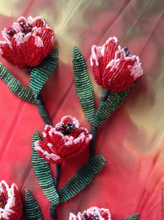 Картины цветов ручной работы. Ярмарка Мастеров - ручная работа. Купить Картина тюльпаны. Handmade. Ярко-красный, цветы, батик