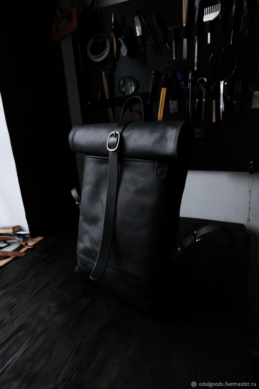 Leather men's rolltop backpack (black) rolltop (size M), Men\\\'s backpack, St. Petersburg,  Фото №1