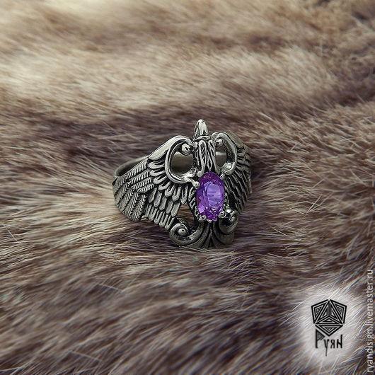 Финист, кольцо из серебра и аметиста перстни подарок на день рождения