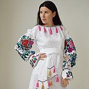 Одежда ручной работы. Ярмарка Мастеров - ручная работа Платье мини белое, туника этно стиль, Bohemia,платье вышиванка. Handmade.