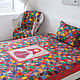 Motley 165x215sm traditional patchwork bedspread. Blankets. Quilter Elena Mazurova. My Livemaster. Фото №4