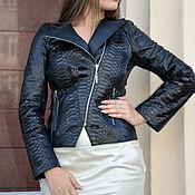 Куртки ручной работы. Ярмарка Мастеров - ручная работа Куртка-косуха из натуральной кожи питона цвет черный. Handmade.