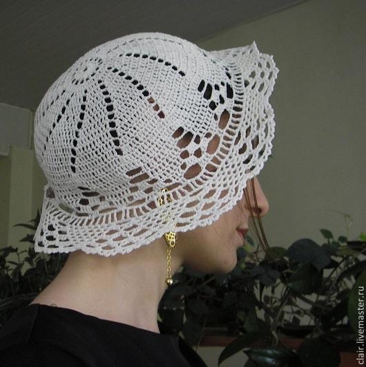 Шляпы ручной работы. Ярмарка Мастеров - ручная работа. Купить Шляпа кружевная , связанная крючком. Handmade. Белый, однотонный