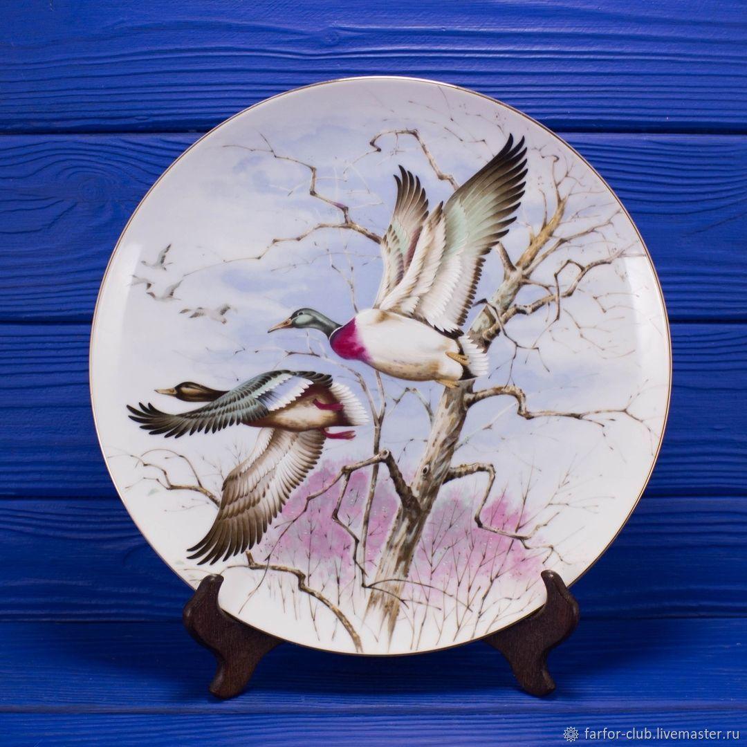 Тарелка из Японии с изображением летящих гусей от Saji, Тарелки, Москва,  Фото №1