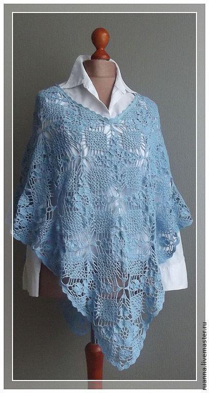 Пончо вязаное из натурального хлопка Голубое пончо вязаное из мотивов