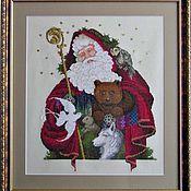 """Картины и панно ручной работы. Ярмарка Мастеров - ручная работа Вышитая картина """"Лесной Санта"""". Handmade."""