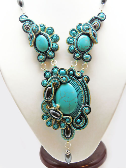 Necklaces & Beads handmade. Livemaster - handmade. Buy necklace turquoise lagoon.Handmade, soutache embroidery, turquoise