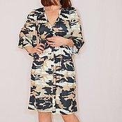 Одежда ручной работы. Ярмарка Мастеров - ручная работа РАЗМЕР 44 Короткое платье кимоно, принт милитари, камуфляж. Handmade.