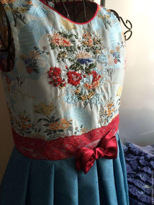 Одежда для девочек, ручной работы. Ярмарка Мастеров - ручная работа. Купить Платье ПЛН 2047. Handmade. Голубой, шелк