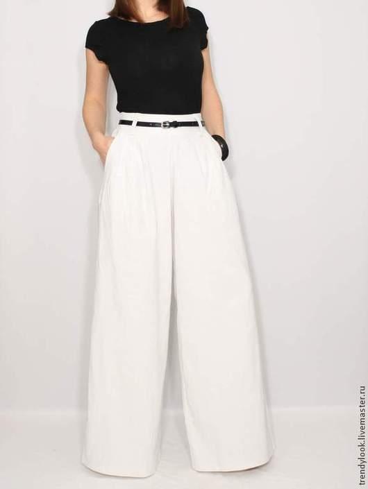 Брюки, шорты ручной работы. Ярмарка Мастеров - ручная работа. Купить Льняные штаны Широкие белые брюки. Handmade. Однотонный