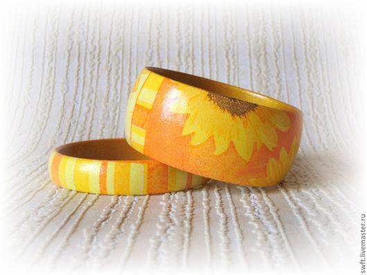 оранжевый желтый красивый полосатый летний женский недорогой деревянный браслет недорого красиво подарок что подарить девушке женщине сестре подруге маме жене на 8 марта день рождения подсолнух