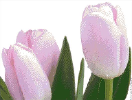 """Вышивка ручной работы. Ярмарка Мастеров - ручная работа. Купить схема для вышивки крестом""""Нежные тюльпаны"""". Handmade. Чёрно-белый, схема"""