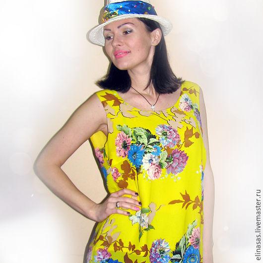 Платья ручной работы. Ярмарка Мастеров - ручная работа. Купить Платье летнее солнечное. Handmade. Платье нарядное, путешествие, синий