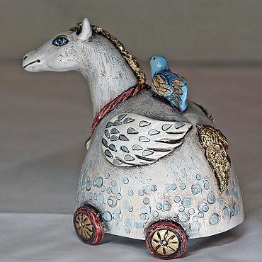 """Сувениры и подарки ручной работы. Ярмарка Мастеров - ручная работа """"Пегас"""" керамический колокольчик. Handmade."""