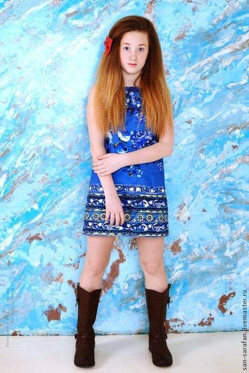 Одежда для девочек, ручной работы. Ярмарка Мастеров - ручная работа. Купить Детский костюм, жакет и платье. Handmade. Тёмно-синий