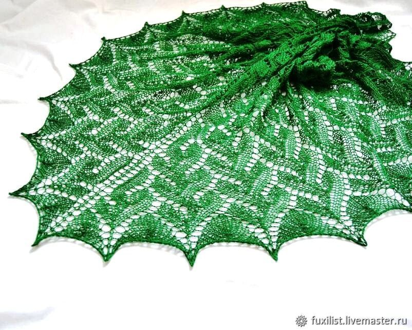 Bactus kerchief knitted, emerald cotton 100% spring, soft, Shawls1, Izhevsk,  Фото №1