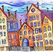 """Картины ручной работы. Ярмарка Мастеров - ручная работа Акварель """"Город"""". Handmade."""