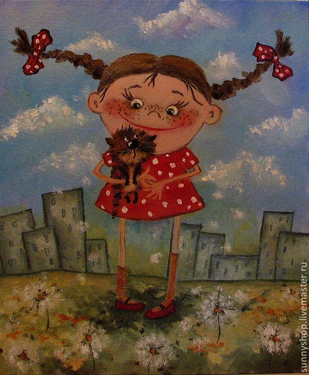 """картина маслом """"Девчушка в городе2"""" в детскую детская картина Кирдий визун кот кошка ребенок девочка картина в раме"""