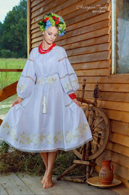 """Платья ручной работы. Ярмарка Мастеров - ручная работа. Купить Женское льняное платье с вышивкой ,, Венчальное"""". Handmade. Белое платье"""