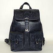 Сумки и аксессуары handmade. Livemaster - original item Blue leather backpack