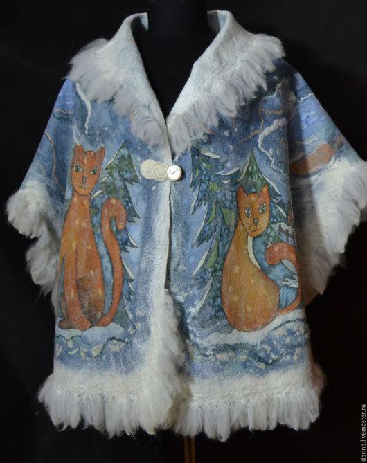 """Шали, палантины ручной работы. Ярмарка Мастеров - ручная работа. Купить накидка валяная """"Кошки на снегу"""""""". Handmade. Голубой, пелерина"""