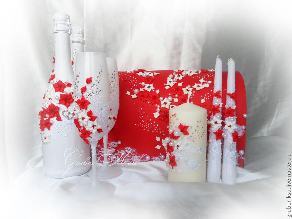 Для свадьбы своими руками бело-красного цвета 698