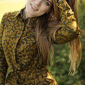 Одежда ручной работы. Ярмарка Мастеров - ручная работа Платье-рубашка с поясом и длинным рукавом, фланель, хаки, на пуговицах. Handmade.