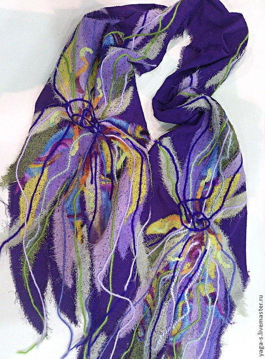 """Шарфы и шарфики ручной работы. Ярмарка Мастеров - ручная работа. Купить Шифоновый шарф """"Ирисы"""". Handmade. Шафр, шифоновый шарф"""