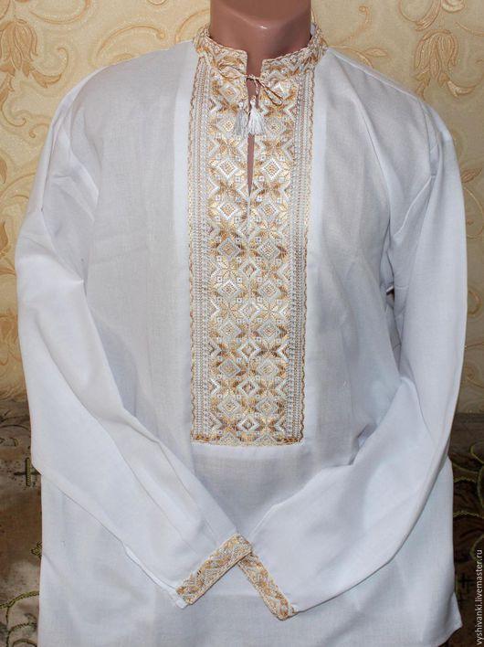 """Этническая одежда ручной работы. Ярмарка Мастеров - ручная работа. Купить Стильная мужская вышитая рубашка """"Золото"""" подарок на любой случай. Handmade."""