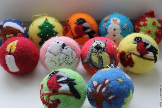 Новый год 2017 ручной работы. Ярмарка Мастеров - ручная работа. Купить Ёлочкины шарики. Handmade. Комбинированный