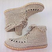 Обувь ручной работы. Ярмарка Мастеров - ручная работа Ботинки вязаные со шнуровкой, серый, лен. Handmade.