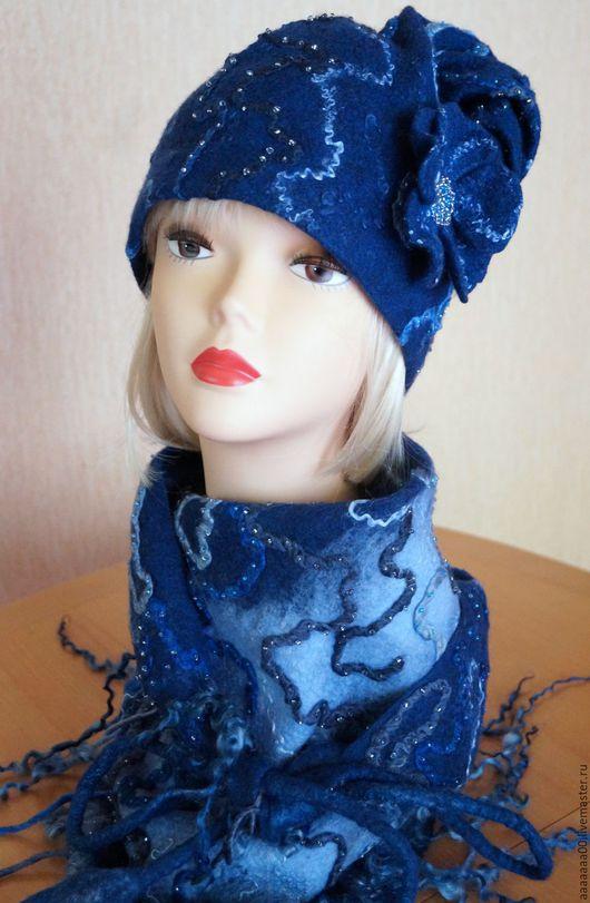 Шапки ручной работы. Ярмарка Мастеров - ручная работа. Купить Валяная шапка 1. Handmade. Тёмно-синий, шапка женская