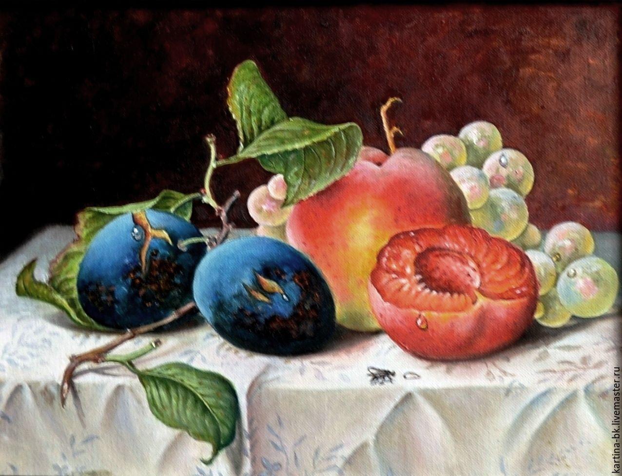 Натюрморт ручной работы. Ярмарка Мастеров - ручная работа. Купить Натюрморт с фруктами. Handmade. Натюрморт, сливы, масло