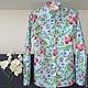 Блузки ручной работы. Ярмарка Мастеров - ручная работа. Купить Рубашка из 100% хлопка с цветочным принтом на выбор. Handmade. Голубой