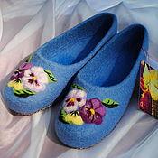 """Обувь ручной работы. Ярмарка Мастеров - ручная работа """"Анютки - подружки-веселушки:-)"""" Валяные тапочки. Handmade."""