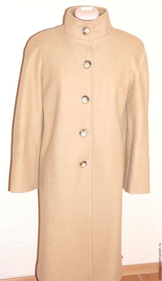 Верхняя одежда ручной работы. Ярмарка Мастеров - ручная работа. Купить Пальто песочное из шерстяного лодена. Handmade. Бежевый