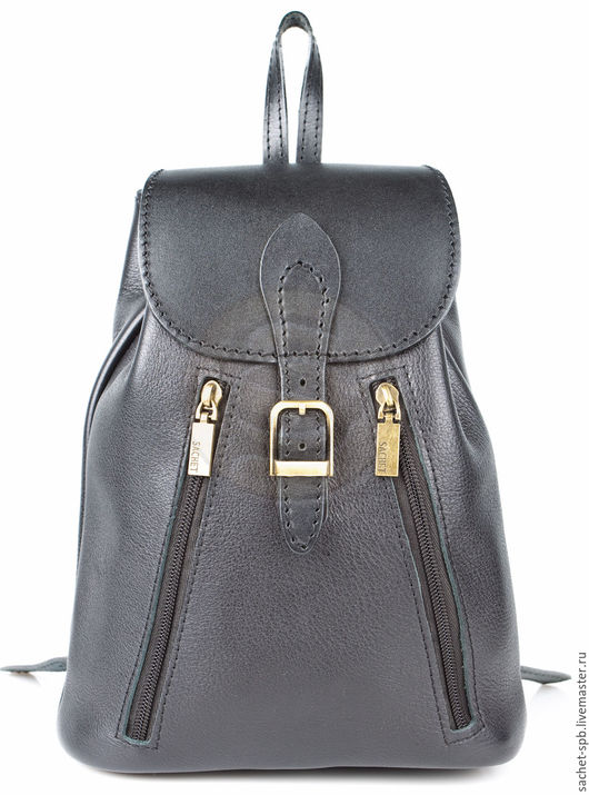 """Рюкзаки ручной работы. Ярмарка Мастеров - ручная работа. Купить Женский кожаный рюкзак """"Жоли"""" черный гладкий. Handmade. Черный"""