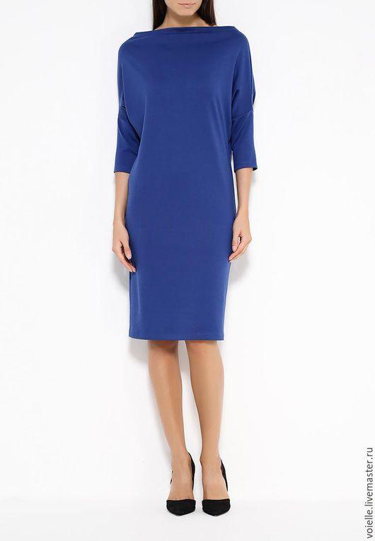 Платье трансформер Ромб с рукавами из джерси синее, платье длиной до колен свободного кроя, комфортное, удобное, на каждый день