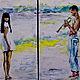 Пейзаж ручной работы. Ярмарка Мастеров - ручная работа. Купить диптих маслом ПЛЯЖ. Handmade. Любовь, пляж, масляные краски