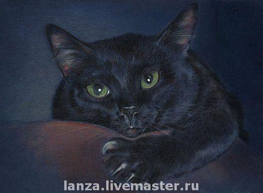 """Животные ручной работы. Ярмарка Мастеров - ручная работа. Купить Картина """"Магический"""". Handmade. Кот, подарок на новый год, черный, пастель"""