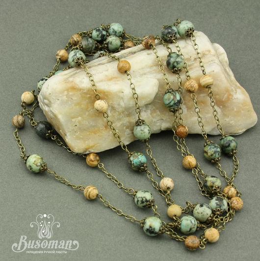 Колье, бусы ручной работы. Ярмарка Мастеров - ручная работа. Купить Длинные бусы из натуральных камней и цепочки. Handmade.