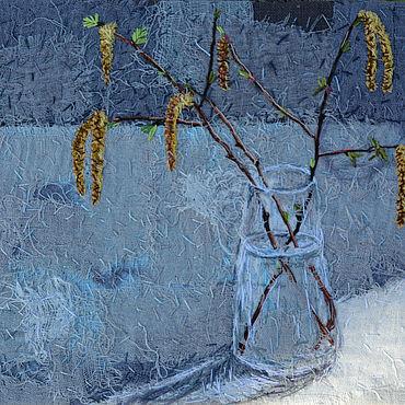 Картины и панно ручной работы. Ярмарка Мастеров - ручная работа Текстильная картина Натюрморт с березовыми ветками в стеклянной вазе. Handmade.