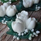 Косметика ручной работы. Ярмарка Мастеров - ручная работа Букет тюльпанов в белом варианте. Handmade.