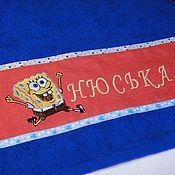 Для дома и интерьера ручной работы. Ярмарка Мастеров - ручная работа Спанч Боб Полотенце махровое с логотипом Подарок любимому мужчине. Handmade.