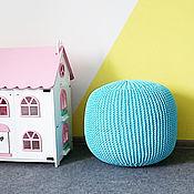 """Для дома и интерьера ручной работы. Ярмарка Мастеров - ручная работа Пуф """"Голубой"""" из трикотажной пряжи. Handmade."""