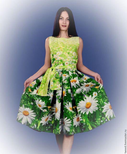 """Платья ручной работы. Ярмарка Мастеров - ручная работа. Купить Платье с широкой юбкой """"Ромашки"""". Handmade. Разноцветный, цветочный"""