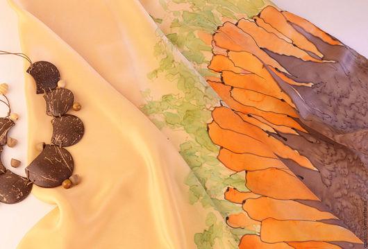 """Шали, палантины ручной работы. Ярмарка Мастеров - ручная работа. Купить Платок из коллекции """"Овощной смузи"""". Handmade. Батик, шёлк"""