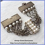 Украшения handmade. Livemaster - original item Metal bracelet with pearls.. Handmade.