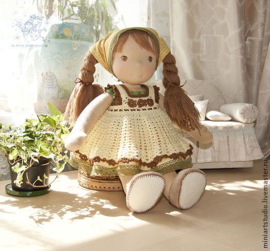 Вальдорфская игрушка ручной работы. Ярмарка Мастеров - ручная работа. Купить вальдорфская кукла Лёля. Handmade. Вальдорфская кукла, желтый