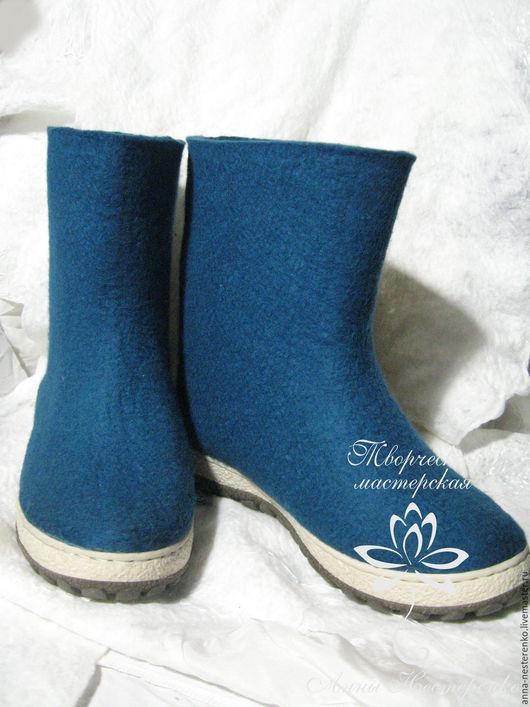 """Обувь ручной работы. Ярмарка Мастеров - ручная работа. Купить Валенки """"Морская волна"""". Handmade. Морская волна, валяная обувь"""